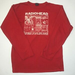 RADIOHEAD RARE! L/S CHERRY RED SHIRT STANLEY DONWOOD ART 2000 MADE BY WASTE