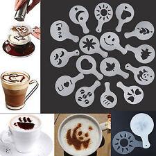 16X Latte Art Schablonen Vorlagen Cappuccino Kaffee Schaum DIY-Tool ZP