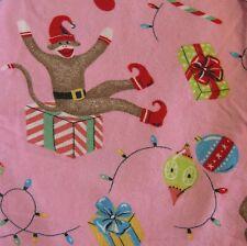 Nick & Nora Pink Sock Monkey Xmas Stocking Elf XL Pajama Pants Flannel PJ Lounge