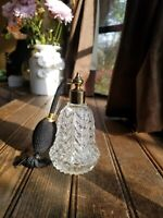 Beautiful Vintage Cut Glass Perfume Bottle with Gold Top & Black Atomizer 5 1/2""