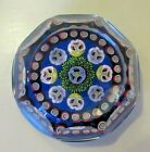 GREAT! Parabelle Artist Proof Glass Paperweight Millefiori Pansy Flower Faceted
