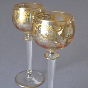 2 Antique French ST LOUIS Crystal GILT Gold Enamel Hock Wine Air TWIST Stems