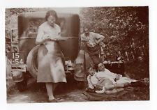 PHOTO ANCIENNE Voiture Auto Automobile Renault ? Vers 1930 Pique nique Famille