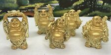 SET OF FIVE GOLD RESIN HAPPY BUDDHAS