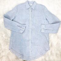 WOMEN'S GAP BLUE/WHITE STRIPE LINEN LONG SLEEVE BUTTON FRONT BLOUSE SZ XS