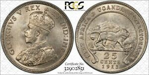 East Africa PCGS MS63 1913 silver 25 cents