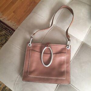 Unique DKNY Donna Karan New York Leather Purse Handbag Tan Brown Silver Accents