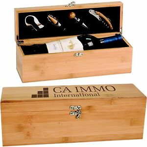 Bamboo Wine Box with Custom Engraved Lid Personalized Wedding Anniversary Gifts