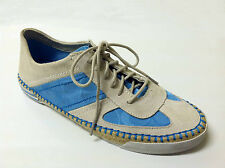 NWB COACH $148 Sneakers Suede Signature Canvas Lace-Up Jute Sole Gray Blue  9
