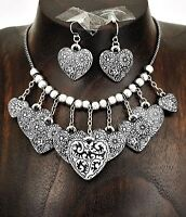 Hearts and Flowers Burnished Silver Necklace Earring Set