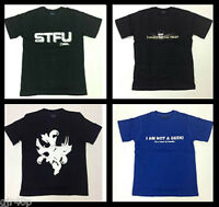 Mens Assorted D-Shirt Slogan T-Shirts GEEK STFU 4 Designs Med Large XXL Black
