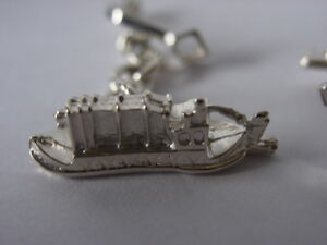 sterling silver barge and lock key chain linked cufflinks UK made