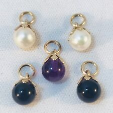Vintage 14k Solid Yellow Gold AMETHYST PEARL ONYX 5 Ball Drop Charm Pendants