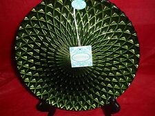4 AZZURRA Handmade Emerald Green Glass Dinner Plates