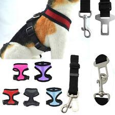 Mesh Harness & SEAT BELT Combo Pet Dog Cat Soft Walk Collar Safety Strap Vest