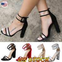 Summer Women's Open Toe Ankle Strap High Chunky Heel Dress Sandals Buckle Shoes