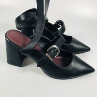 ASOS Pointed Block Heel Ankle Strap Shoes, Size 7 UK - Black & Strappy