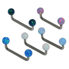 1x TITANIUM Opal Stone Bar Dermal Piercing Barbell Surface Piercing Body Jewelry