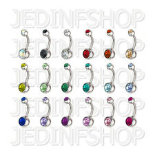 Navel Belly Bar - 1.6mm (14g) - 6mm 8mm 10mm 12mm - Double Gem - 18 Colours