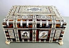 LG Amazing 19thC Anglo Indian VIZAGAPATAM Workbox, Faux tortoiseshell & Fretwork