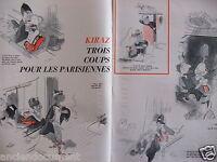 DESSIN DE PRESSE HUMORISTIQUE 1964 KIRAZ TROIS COUP POUR LES PARISIENNES
