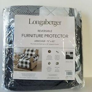 Longaberger Weyland Reversible Furniture Protector Arm Chair Buffalo Plaid Black