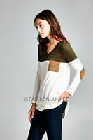 OLIVE 48 VNECK ELBOW PATCH TOP Tunic Long Sleeve Suede Pocket Color Block S M L
