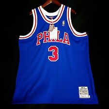 100% Authentic Mitchell & Ness Allen Iverson Sixers blue NBA Jersey Size 56 3XL