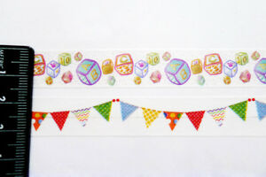 LOT of 2 Rolls Washi/Deco Tape Baby Shower (Bunting/Building Blocks) 10 Meters
