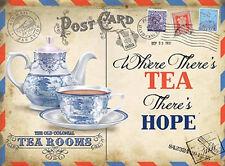 Tea Rooms, Vintage Postcard, Kitchen Cafe Old Shop, Food, Large Metal/Tin Sign
