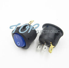 5Pcs Mini 3 Pin Round SPDT ON-OFF Rocker Switch Snap-in Blue