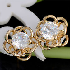 Lovely 18K Gold Filled Hollow Flower Colorful Cubic Zirconia Stud Earrings