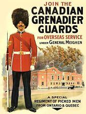 PROPAGANDA WAR WWI CANADA GRENADIER GUARDS ENLIST ART POSTER PRINT LV7170