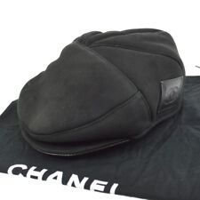 77a1a54d57c 100% Authentic CHANEL Vintage CC Logos Hat Black 100% Lambskin  57 Y02171