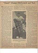 FRANK MCCORMICK CINCINNATI REDS AUTOGRAPH 1940'S MAGAZINE PAGE