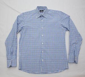 Hugo Boss Mens Regular Fit plaid checks Blue white Dress Shirt 15.5 34 35