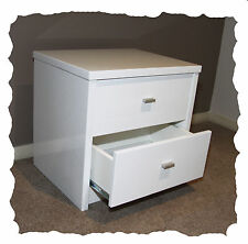 Venus Bedside Table - 2 Drawers - Hi Gloss White - Fully Assembled - BRAND NEW