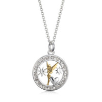 Disney TinkerBell Women Necklace Pendant Silver Over Brass Crystal Jewelry Kids