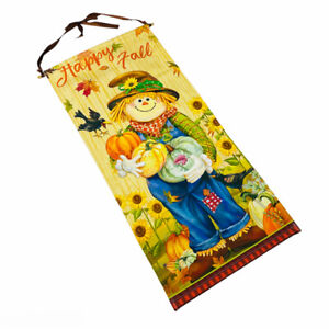 Happy Fall Autumn Scarecrow with Pumpkins Sunflowers Canvas Wall Hanging