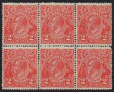 Australia - KGV SC Wmk 2d red block of 6 SG 63 - MH/MNH (perf separation)