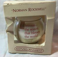 Norman Rockwell Christmas Ornament Glass Ball 1988 Boy Praying Hallmark Keepsake