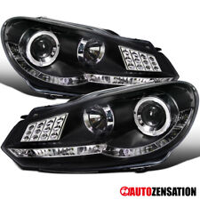 For 2009-2012 VW Golf Mk6 GTI Black Halo Projector Headlights+LED Signal+DRL