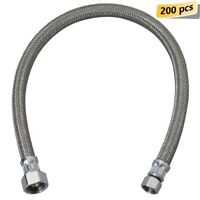 """PLUMBING 200 PCS 20"""" STAINLESS STEEL FAUCET SUPPLY LINE 1/2""""FIP X 3/8""""OD Comp"""