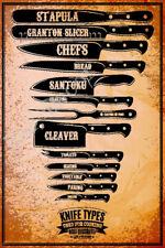 Vintage Metal Tin Signs Knife Types Retro Poster Butcher Shop Art Wall Decor