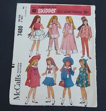 Vintage McCall's printed pattern for Barbie's Skipper doll #7480 cut