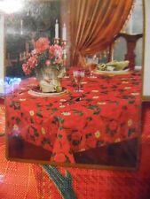 52 X 70 Benson Mills Fabric Christmas Tablecloth Red Poinsettia Plaid