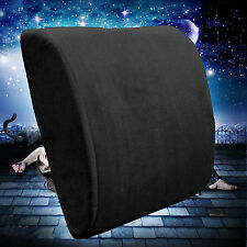 Bookishbunny Memory Foam Lumbar Support Cushion Travel Pillow Back Comfort Black
