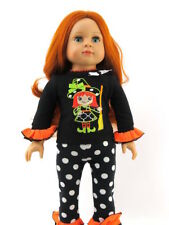 """Little Witch Polka Dot Halloween Pant Set Fits 18"""" American Girl Doll Clothes"""