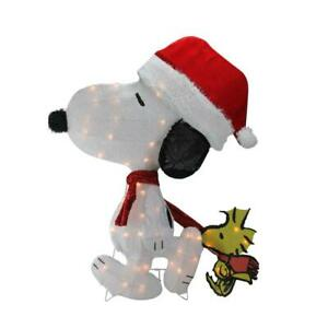 32in. Christmas Lighted Peanuts Snoopy In Santa Hat & Woodstock 2D Yard Decor LE