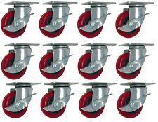 "12 Pack 4"" Caster Wheels with Brake Lock 400lbs Swivel Rigid Polyurethane Plate"